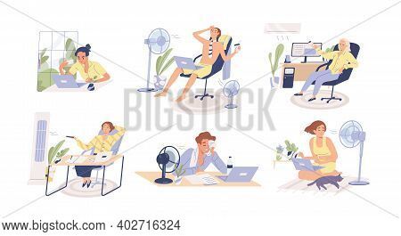 People Working In Heat, Using Air Conditioner And Fan At Home And In The Office. Overheating And Exh