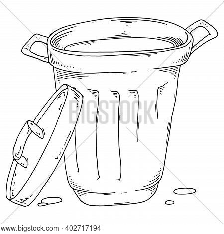 Trash Can. Vector Aluminum Trash Can. Waste Bin, Garbage.
