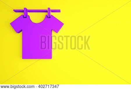 Purple Drying Clothes Icon Isolated On Yellow Background. Clean Shirt. Wash Clothes On A Rope With C