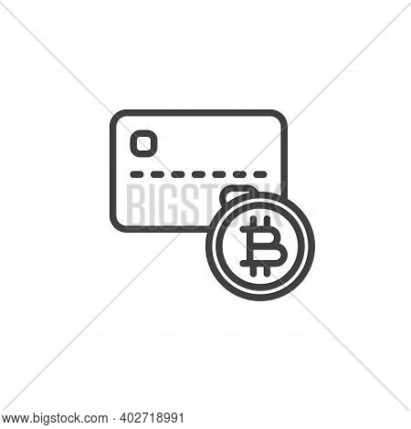 Credit Card And Bitcoin Line Icon. Linear Style Sign For Mobile Concept And Web Design. Cryptocurren