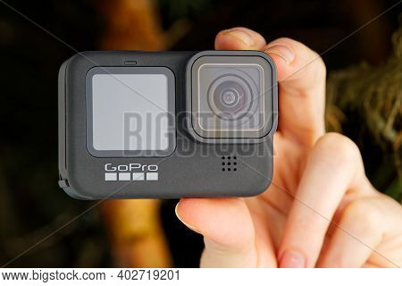 Tallinn, Estonia - December 11, 2020: Gopro Hero 9 Black Action Camera Outdoors In Forest