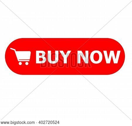 Buy Now Button On White Background. Buy Now Sign. Red Buy Now Button With Shopping Cart Symbol. Flat