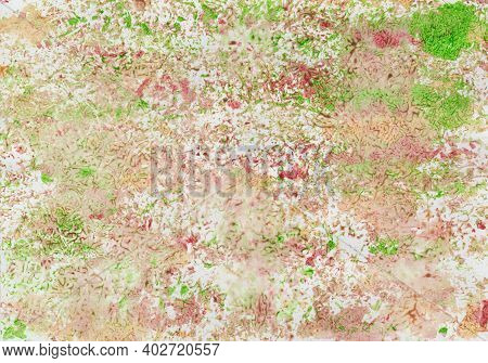 Watercolor Painting With Pattern In Pink, Green And Ocher