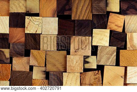 Tiled Background of various precious woods. Mix of Ebony, Rosewood, Persimmon, Ash, Bocote, Chestnut, Spalted maple.