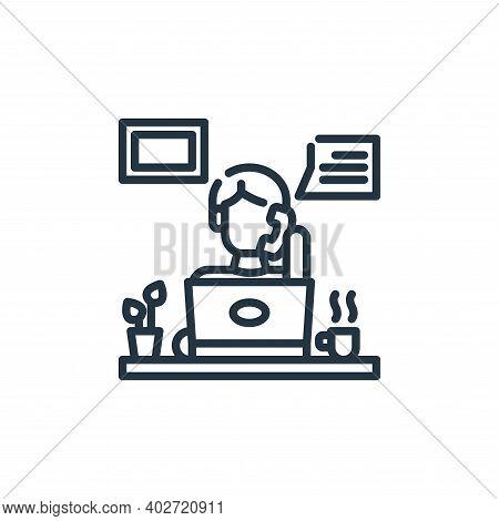 teleworking icon isolated on white background. teleworking icon thin line outline linear teleworking