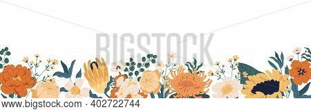 Gorgeous Floral Backdrop With Border Of Blooming Autumn Flowers And Leaves. Design Of Horizontal Ban