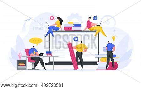 People Customize And Promote Web Educational Resource Vector Concept.