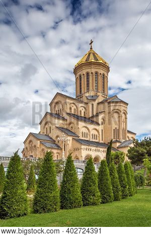 Holy Trinity Cathedral Of Tbilisi Commonly Known As Sameba Is The Main Cathedral Of The Georgian Ort