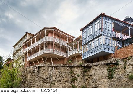 Houses With Balconies In The Historic District Of Tbilisi, Georgia
