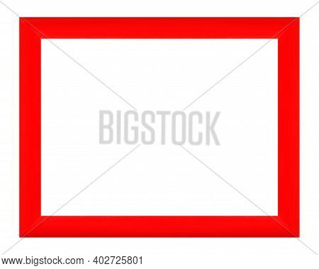 Frames And Borders - Red Modern Frame For Photos On A White Background. Isolated.