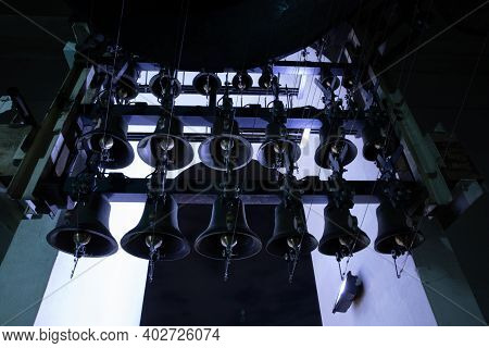 Variuos Of Bells Inside Of The Bell Tower Of St. Michaels Golden-domed Monastery At Night Light - Ky