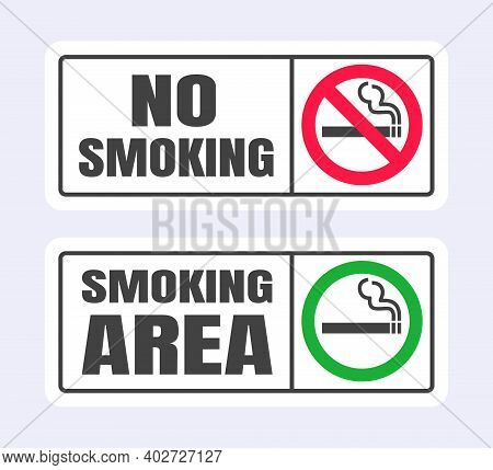 No Smoking And Smoking Area Sign Set. Forbidden Sign Icon Isolated On White Background Vector Illust