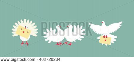 A Set Of White Doves Is A Symbol Of Peace And Family Well-being. A Couple Of Pigeons Are Often Used