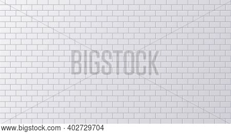 White Ceramic Tile, Clean Subway Or Street Wall Surface Background. Vector Illustration
