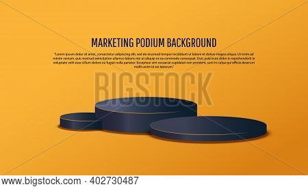 3d Black Platform Studio Minimal Scene With Render Platform On Yellow Background. Podium Show Cosmet
