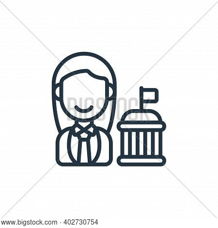 Politician icon isolated on white background. Politician icon thin line outline linear Politician sy
