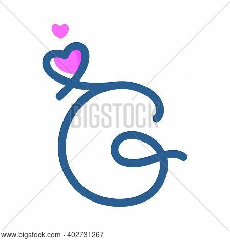 Simple And Clean Illustration Logo Initial Mono Line G With Heart.