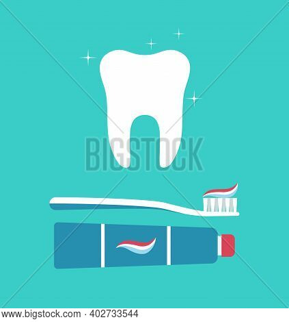 Tooth, Brush And Toothpaste. Toothbrush With Paste Tube For Teeth. Icon Of White And Clean Tooth. De