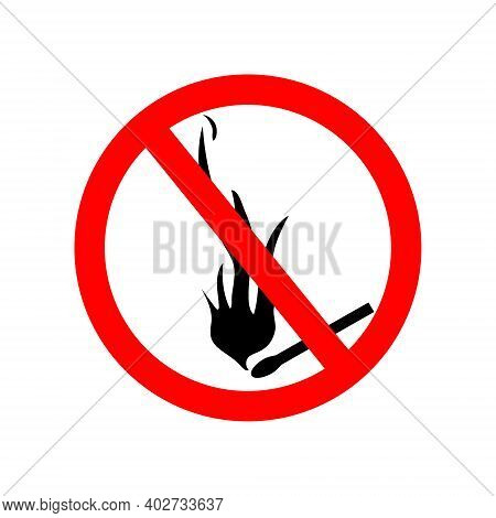Icon Of Ban Fire And Smoke. Sign Of Forbidden Flame Of Fire. Symbol For Stop Of Burn. Warning For Sa