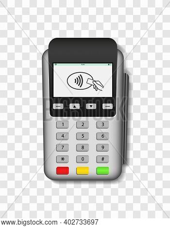 Pos Terminal. Machine For Payment Of Credit Card. 3d Realistic Mockup Of Terminal With Swipe For Pay