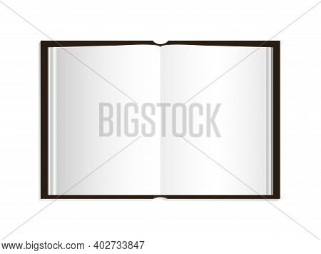 Open Book With Cover. Blank Page Of Book. Template Paper Booklet. Mockup Of Book With Shadow Isolate
