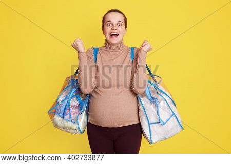 Pregnant Woman Being Ready Leaving For Maternity Hospital, Feels Happy, Wants Giving Birth Faster, E