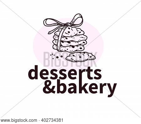 Desserts And Bakery Logo Design With Hand Drawn Cookies Illustration. Vector Doodle Style. For Cafe