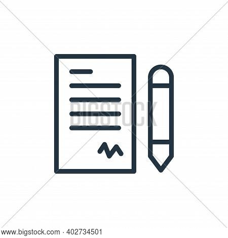 contract icon isolated on white background. contract icon thin line outline linear contract symbol f