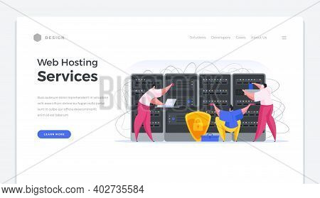 Web Hosting Services Home Page Banner. Specialists In Software And Online Security Set Up Data Serve