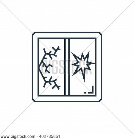 broken window icon isolated on white background. broken window icon thin line outline linear broken