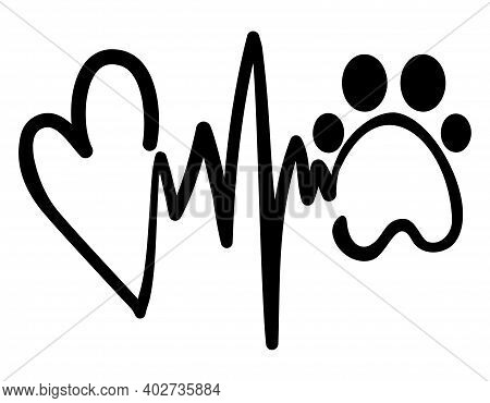 Love Hope Dog - Handwritten Vector Hearbeat Rythm With Heart And Paw, Heart And Heart Rate Shape. Go