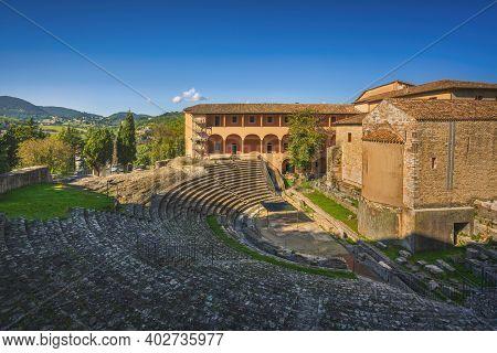 Spoleto, Ancient Roman Theatre. Perugia, Umbria Region, Italy, Europe.