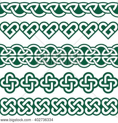 Irish Celtic Vector Seamless Vector Braided Green Patterns Collection, Border And Frame Design, Perf
