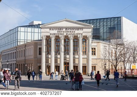 Subotica, Serbia - March 29, 2019: Facade Of National Theater Of Subotica, With Mention National The