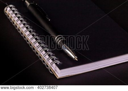 Notepad And Pen Close With Spiral Bound Lined Pages