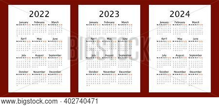 Yearly Calendar For 2022 2023 2024 Years, Vertical A4 Format, Week Starts Monday. Annual Calendar Te