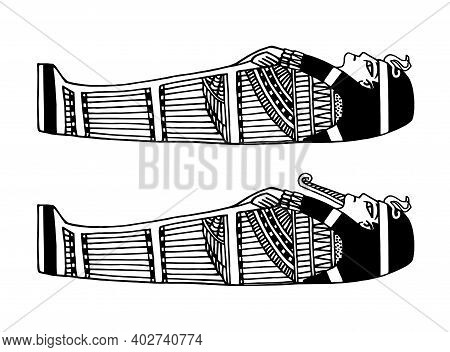 Ancient Egyptian Sarcophagus For The Pharaoh Decorated With A Traditional Pattern, Vector Illustrati
