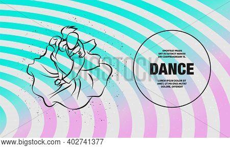 Couple Dancing Tango. Vector Outline Dance Illustration.