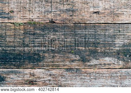 Old Wood Texture For Web Background, Decrepit, Rotten Wooden Backdrop. Wall With Weathered Rough Age