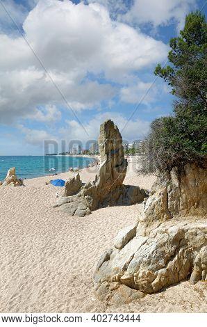 Beach And Village Of Playa De Aro,costa Brava,catalonia,mediterranean Sea,spain