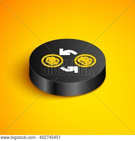 Isometric Line Processor Chip With Dollar Icon Isolated On Yellow Background. Cpu, Central Processin