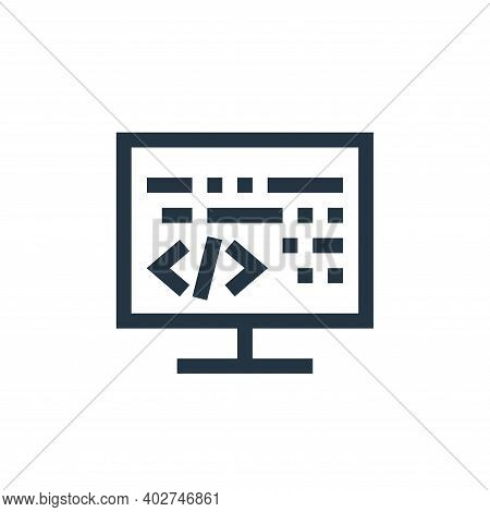 coding icon isolated on white background. coding icon thin line outline linear coding symbol for log