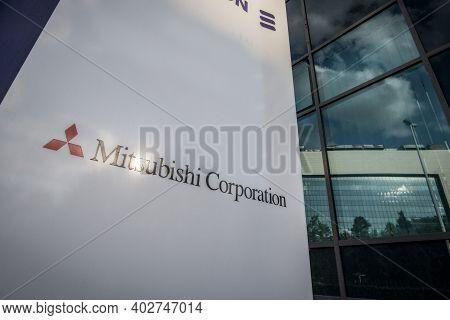 Belgrade, Serbia - May 31, 2020: Mitsubishi Corporation Logo On Their Main Office For Belgrade. Mits