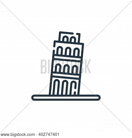 leaning tower of pisa icon isolated on white background. leaning tower of pisa icon thin line outlin