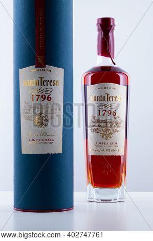 Prague,czech Republic - 9 January,2021:   Bottle Of Run Santa Teresa On The Wooden  Table. It Is The