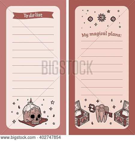 To Do List. Magic Notebook For Girl Plans With Witch Elements. To Record, List, Milestone. Childrens