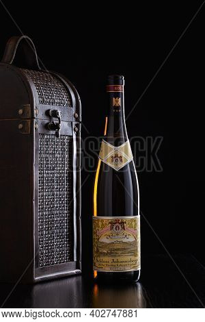 Prague,czech Republic -  10 January, 2021: One Bottle Of Riesling And Wine Suitcase. Since 1720 Only