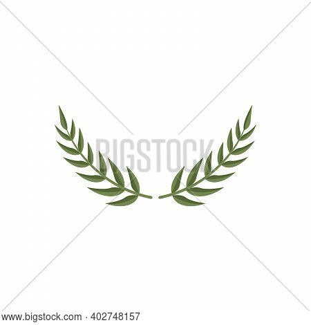 Laurel Wreath Leaves Ornament Icon Vector Illustration Graphic Design On White Background Flad Style