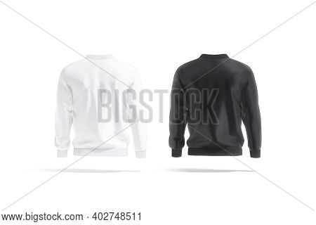 Blank Black And White Bomber Jacket Mockup, Back View, 3d Rendering. Empty Casual Sweatshirt With Zi