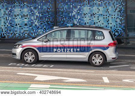 Vienna, Austria - August 31, 2020: Austrian Police Car Volkswagen Parked At Airport.